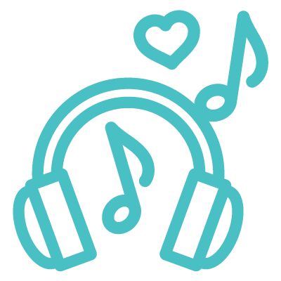 icon of music notes with headphones