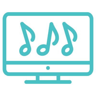 icon of music notes on a computer screen